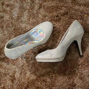 Silver Slipper sparkly heels